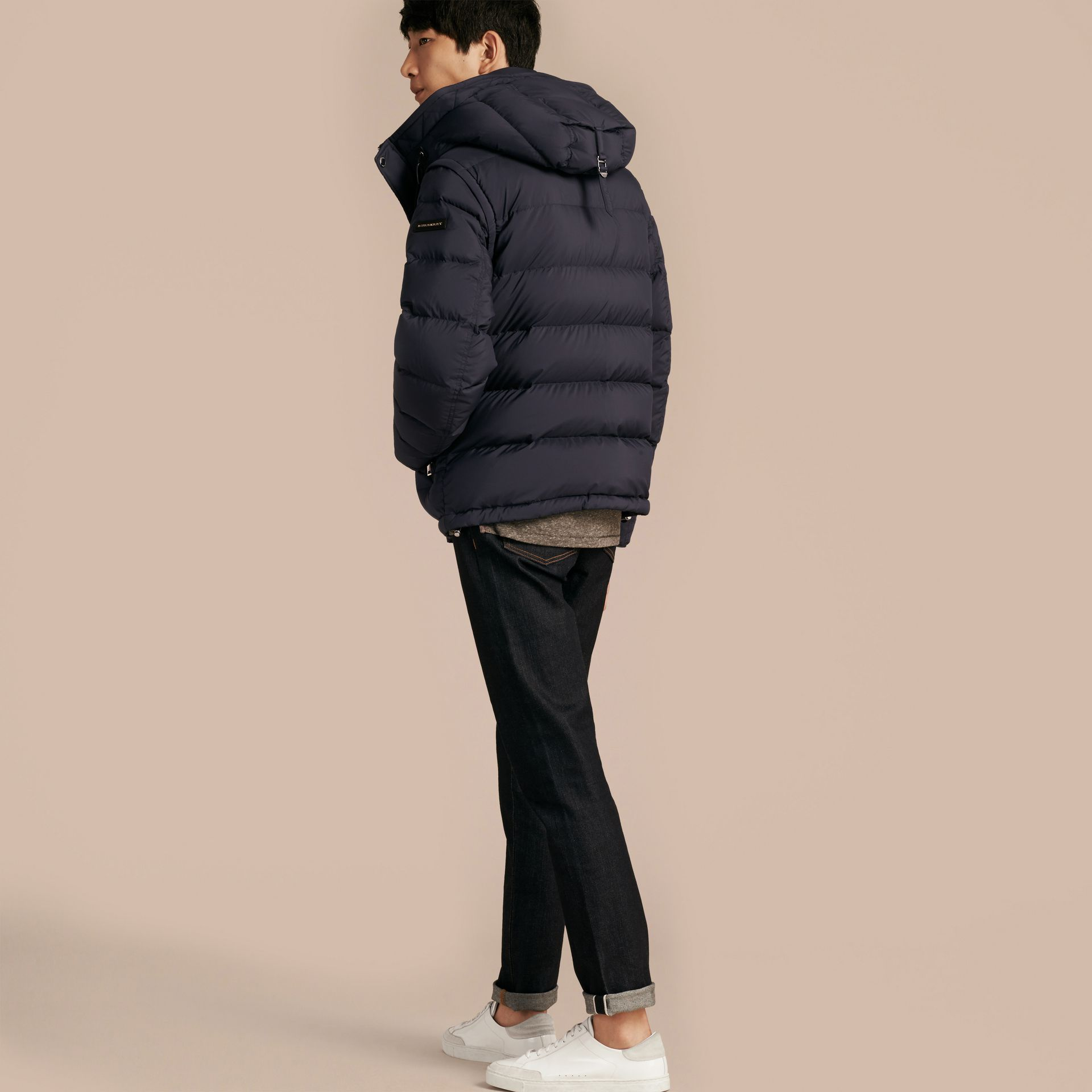 Navy Down-filled Hooded Jacket with Detachable Sleeves Navy - gallery image 3