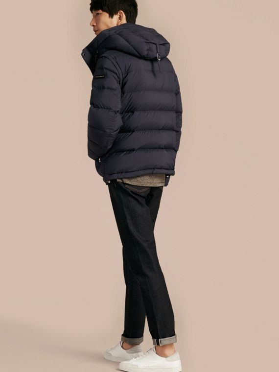 Navy Down-filled Hooded Jacket with Detachable Sleeves Navy - cell image 2