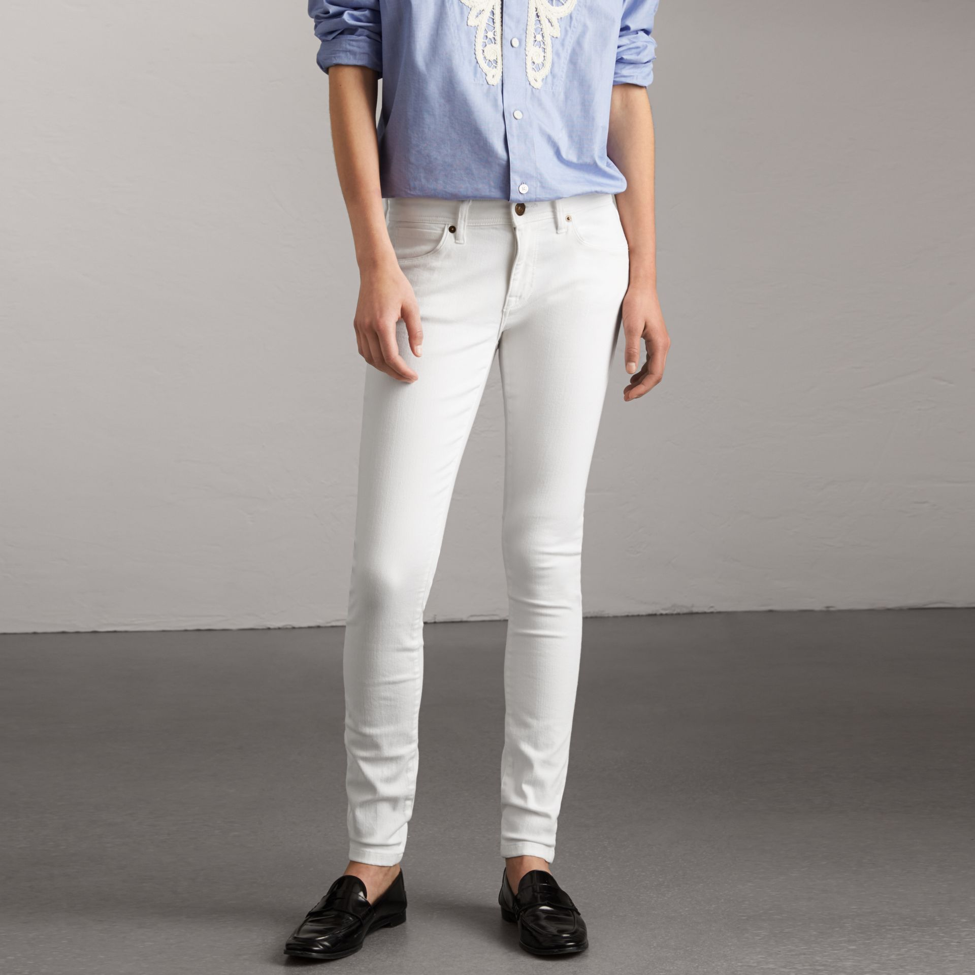 Skinny Fit Low-Rise White Jeans - Women | Burberry United States - gallery image 0