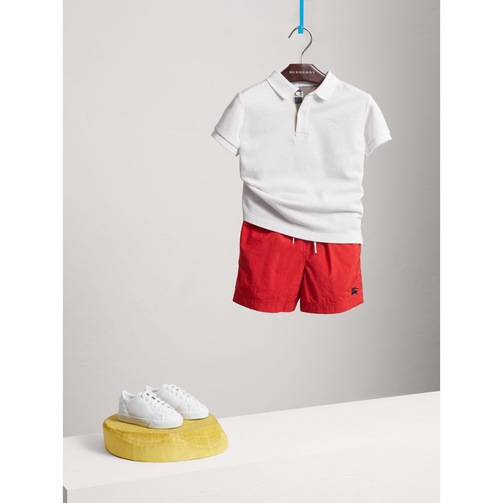 Check Placket Polo Shirt in White - Boy | Burberry United Kingdom - gallery image 0