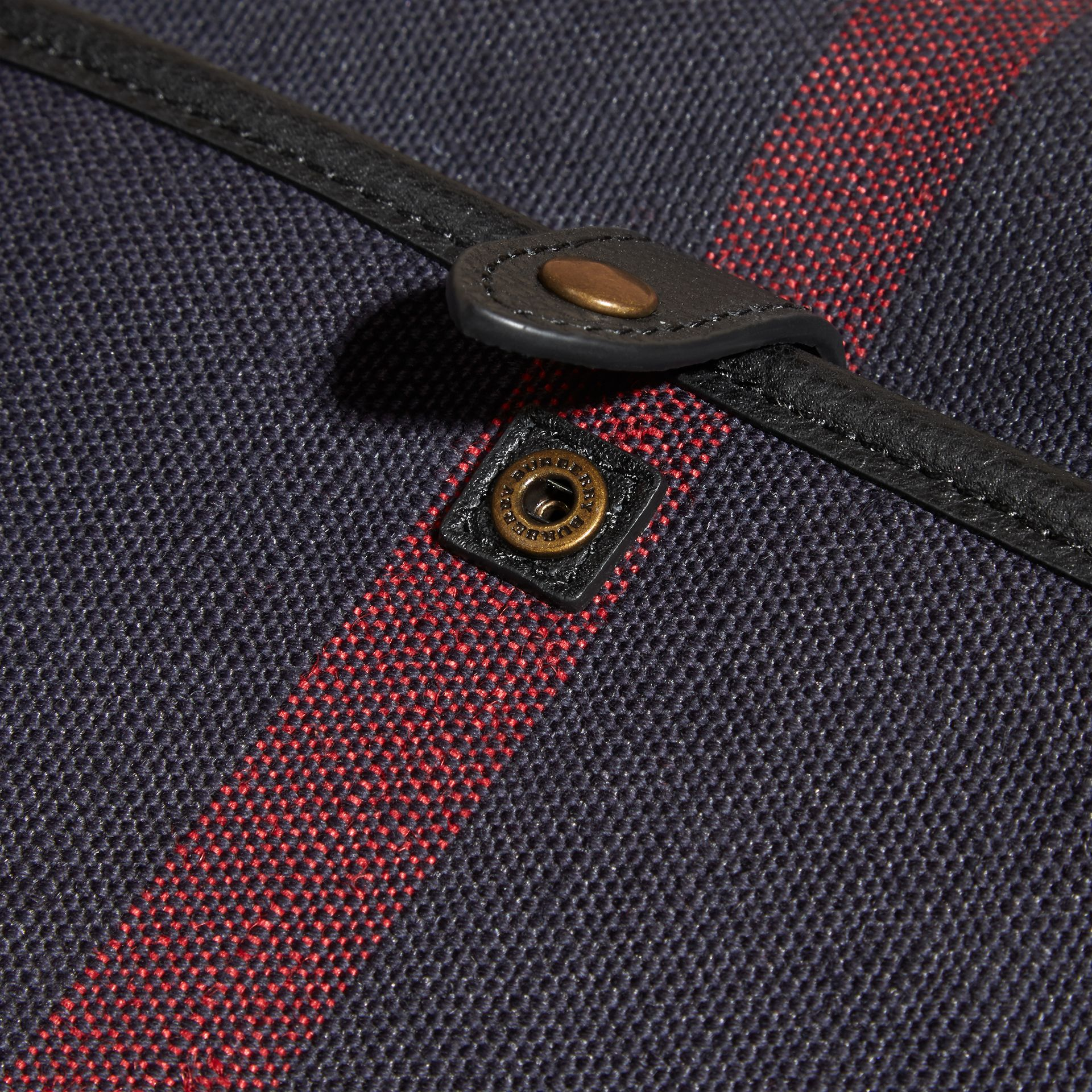 Leather Trim Canvas Check Messenger Bag - gallery image 6