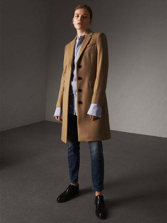 Wool Cashmere Tailored Coat in Camel - Women | Burberry Canada