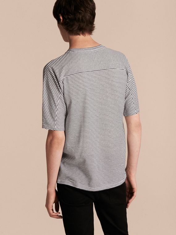 Striped Cotton Linen T-shirt - cell image 2