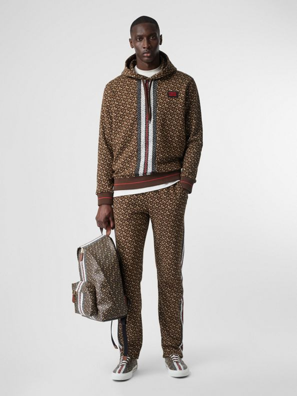 Monogram Stripe Print Cotton Trackpants in Bridle Brown