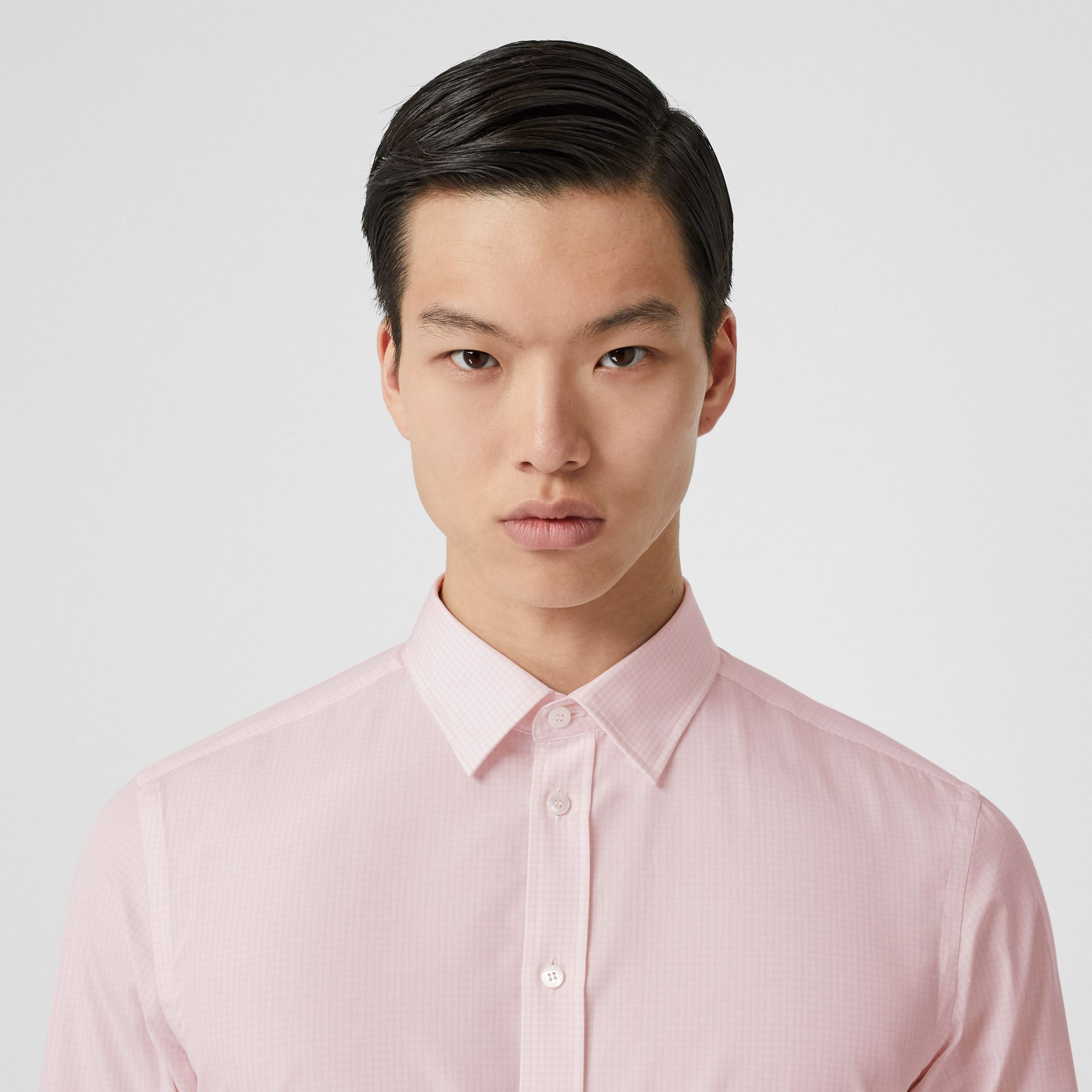 Slim Fit Micro Check Cotton Poplin Shirt in Alabaster Pink - Men | Burberry - gallery image 1