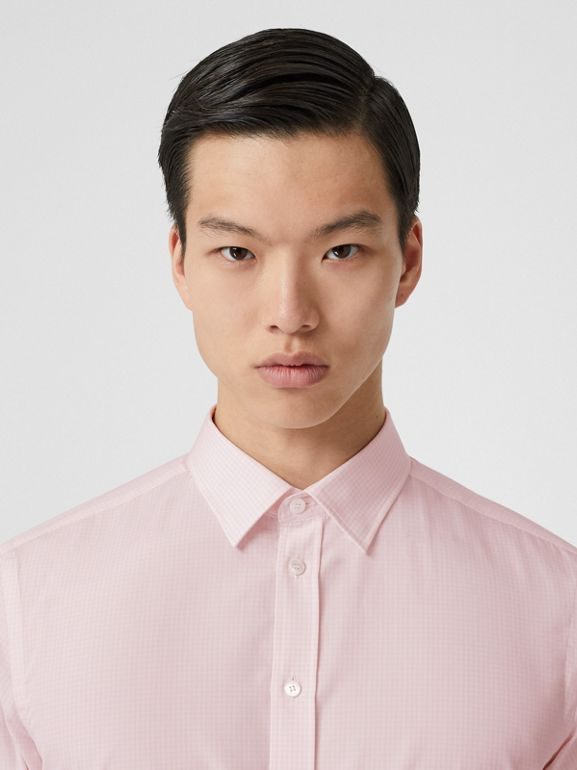Slim Fit Micro Check Cotton Poplin Shirt in Alabaster Pink - Men | Burberry Australia - cell image 1