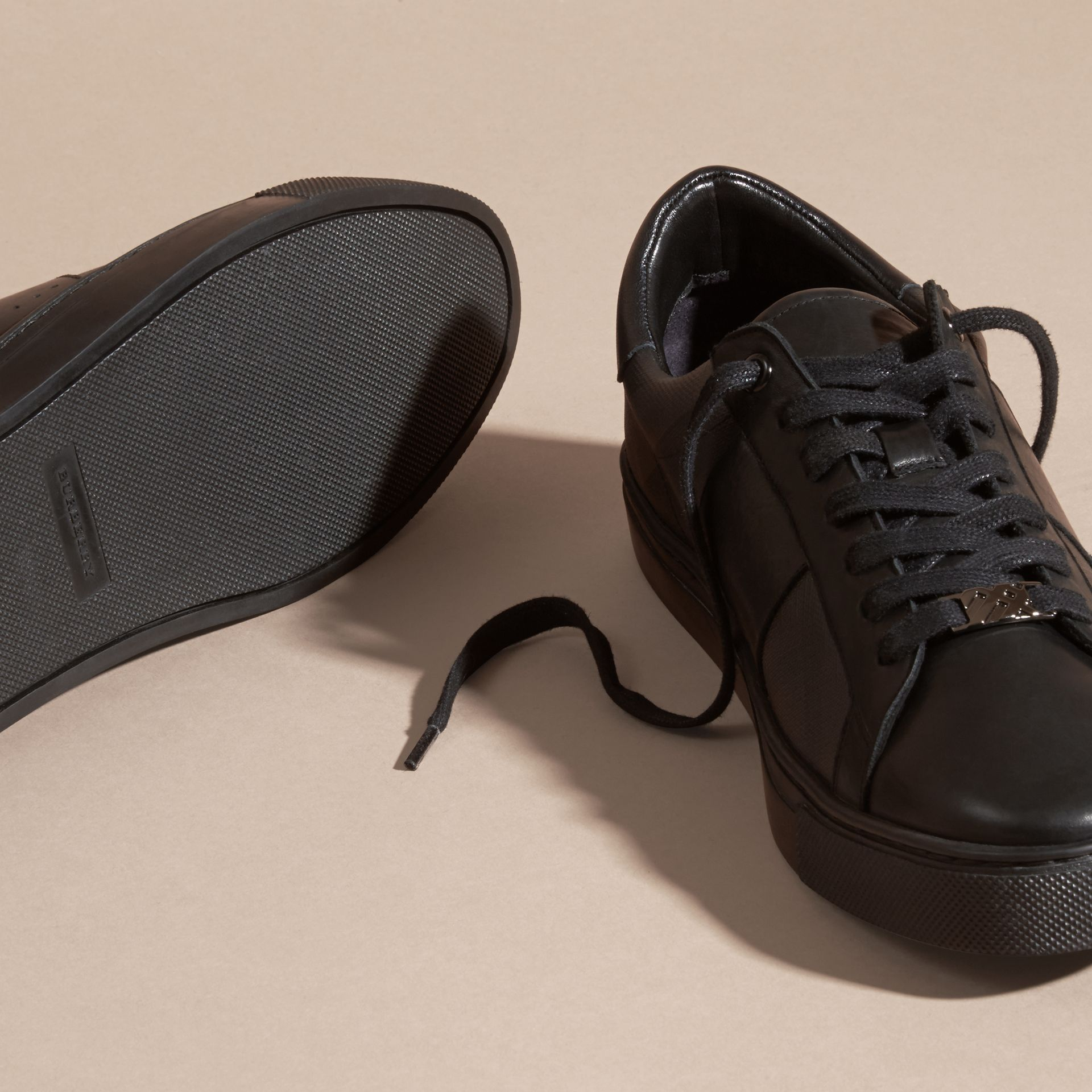 Check Detail Leather Trainers in Smoked Chocolate Chk - Men | Burberry - gallery image 5