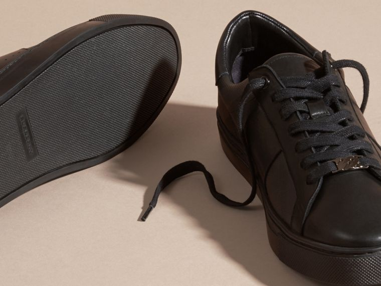 Check Detail Leather Trainers in Smoked Chocolate Chk - Men | Burberry - cell image 4