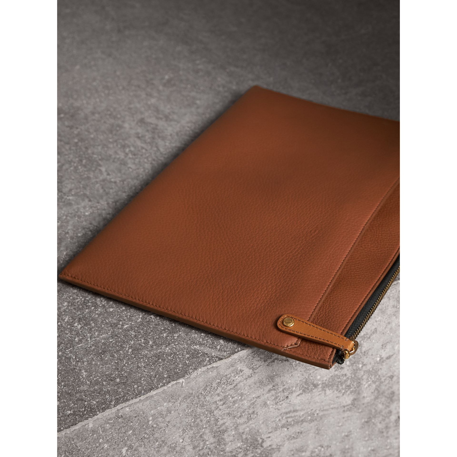 Embossed Leather Document Case in Chestnut Brown - Men | Burberry Australia - gallery image 3