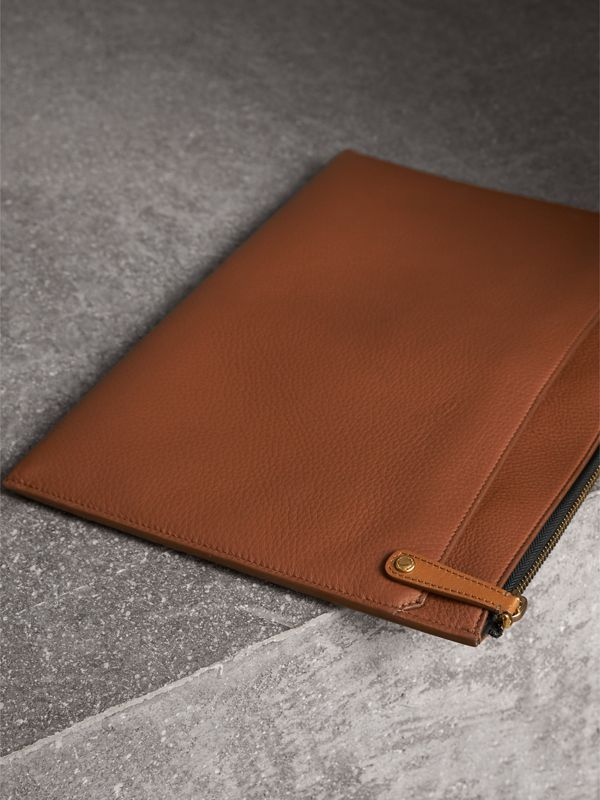 Embossed Leather Document Case in Chestnut Brown - Men | Burberry - cell image 3