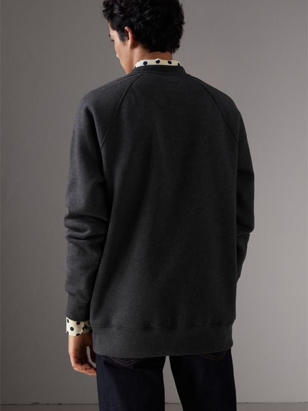 Tartan Panel Jersey Sweatshirt in Charcoal Melange - Men | Burberry - cell image 2