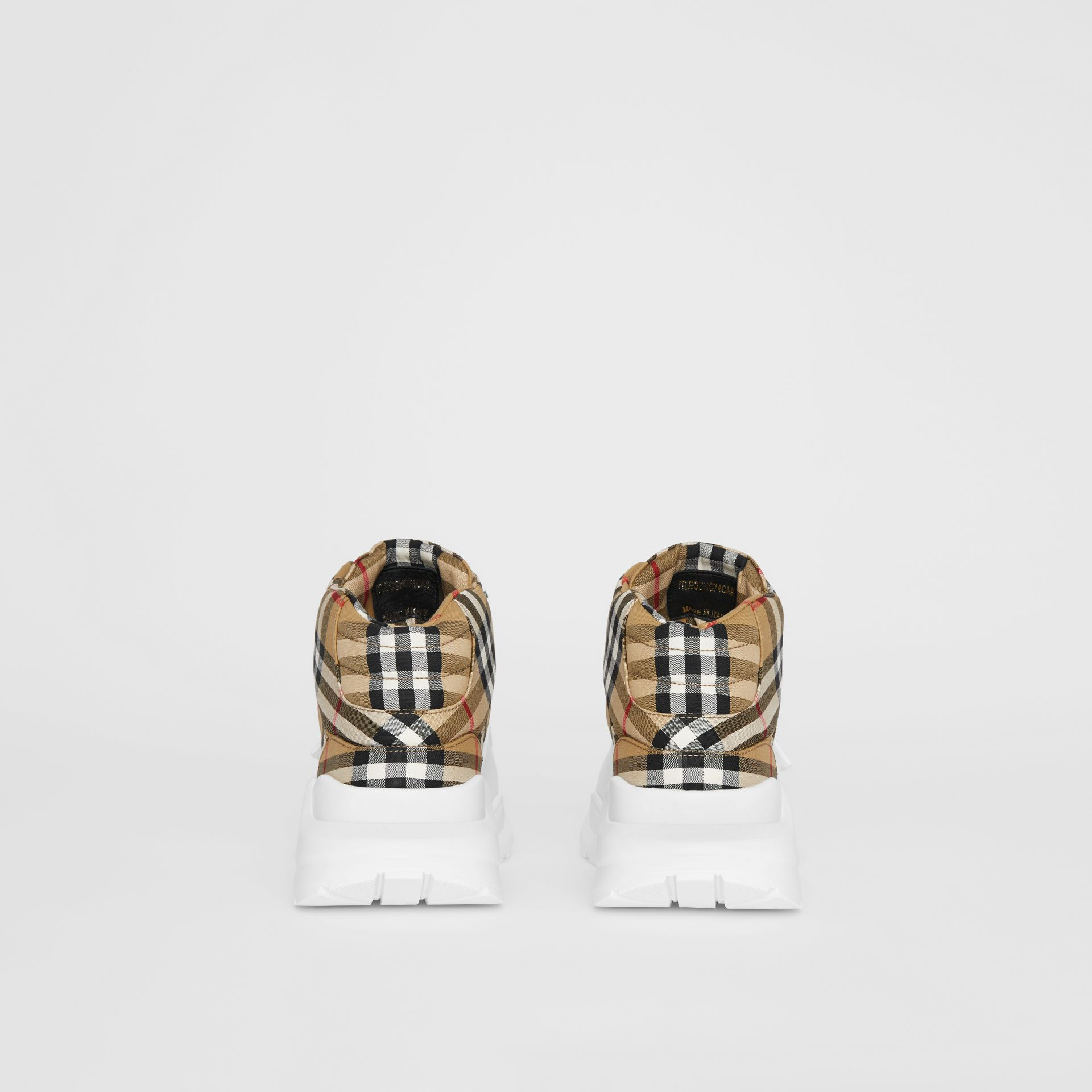 Vintage Check High-top Sneakers in Antique Yel/optc Wht - Men | Burberry United Kingdom - gallery image 4