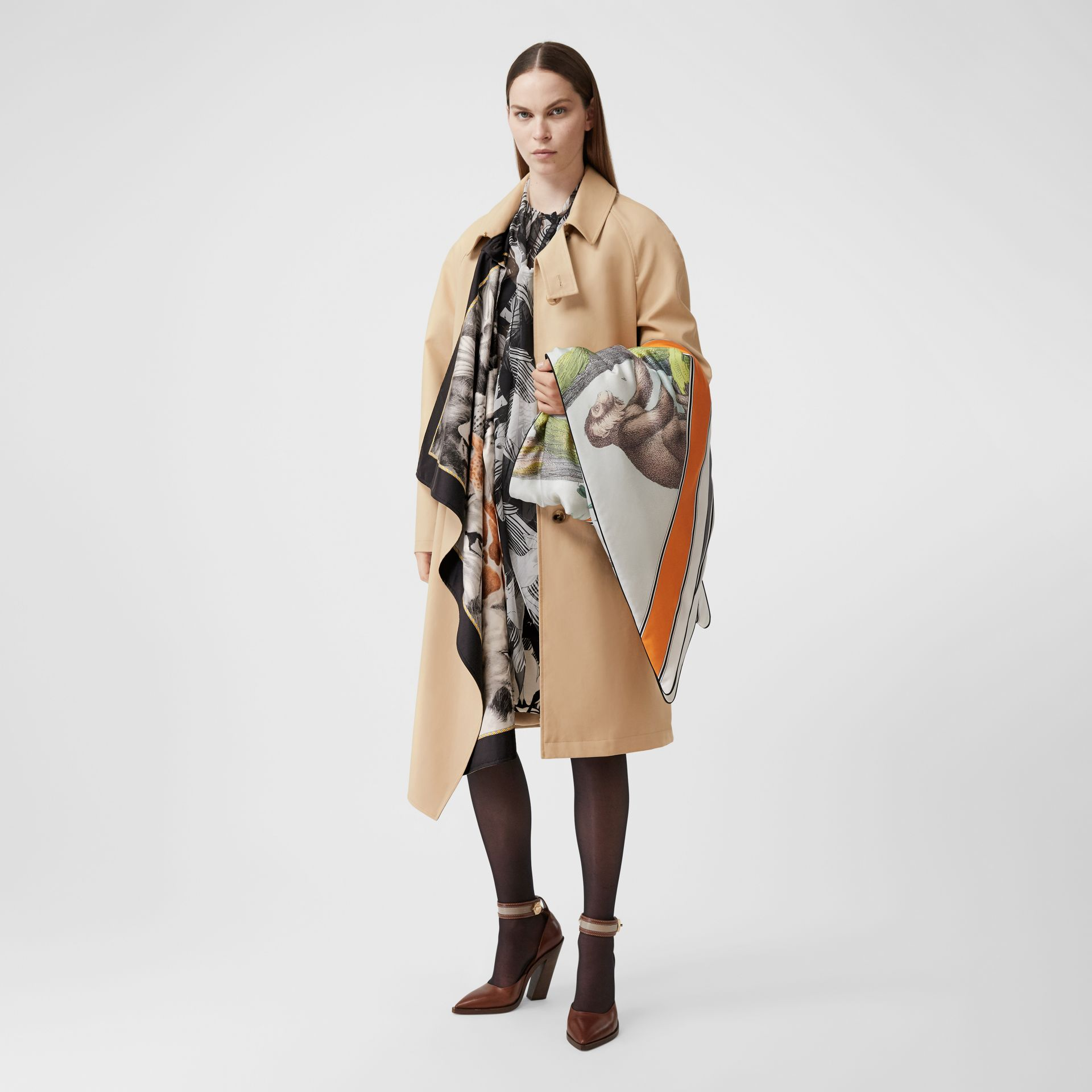 Animalia Print Silk Scarf Detail Cotton Car Coat in Soft Fawn - Women | Burberry - gallery image 6