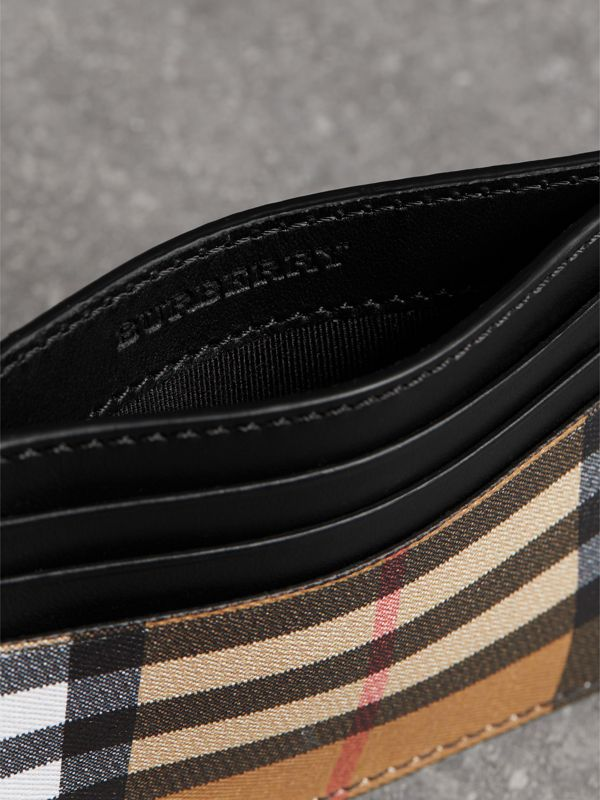 Vintage Check Leather Card Case in Black - Men | Burberry Singapore - cell image 3
