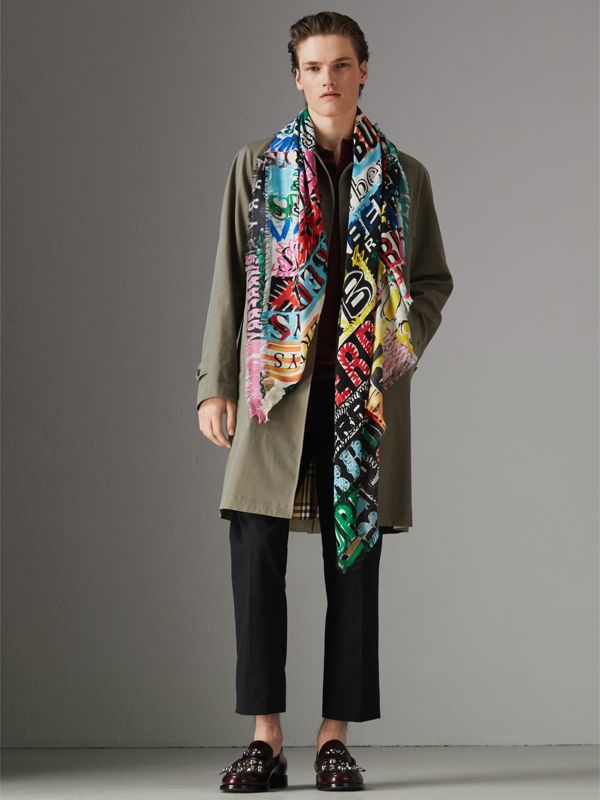 Tag Print Wool Silk Large Square Scarf in Multicolour | Burberry - cell image 3