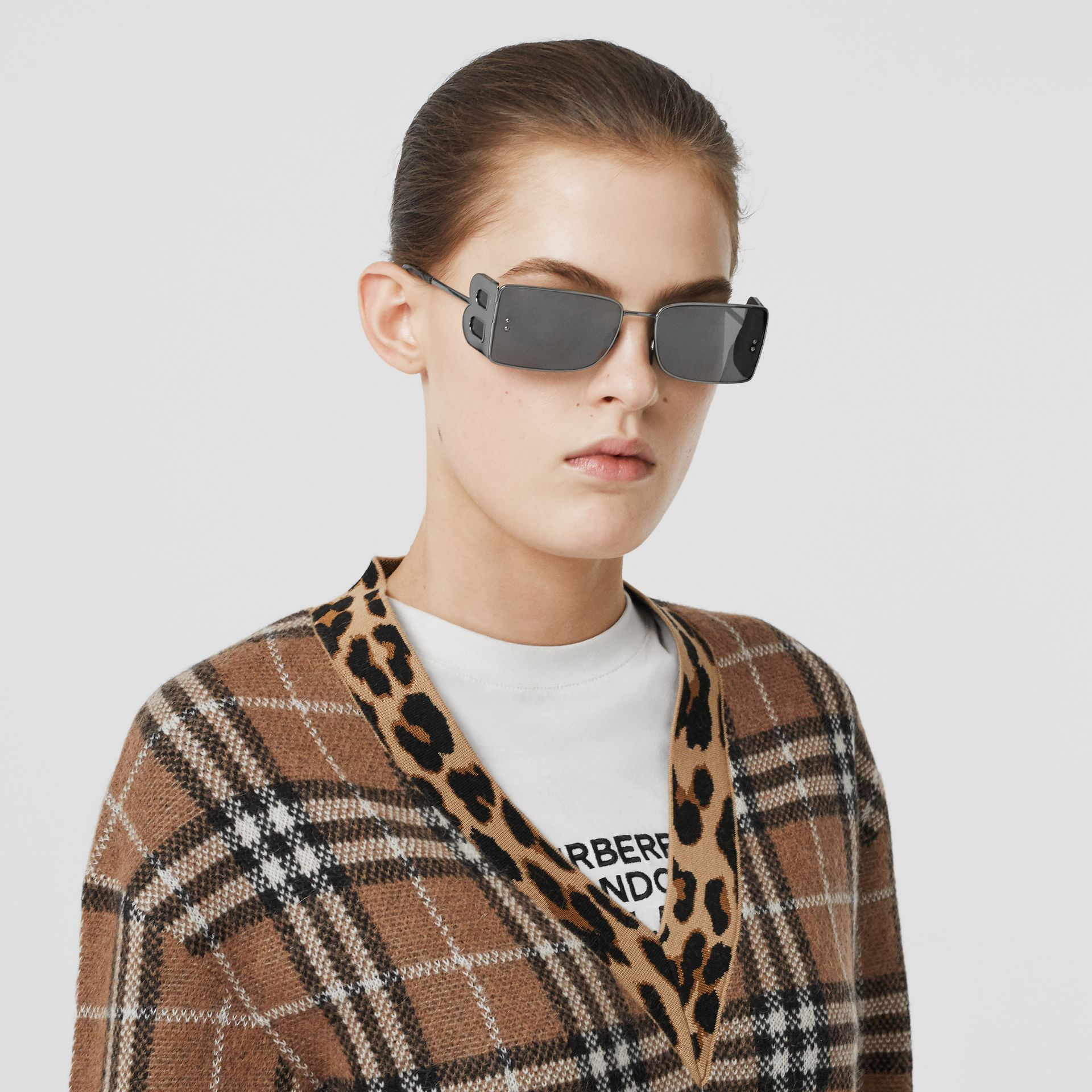 Leopard Detail Vintage Check Cashmere Blend Sweater in Archive Beige - Women | Burberry - gallery image 1