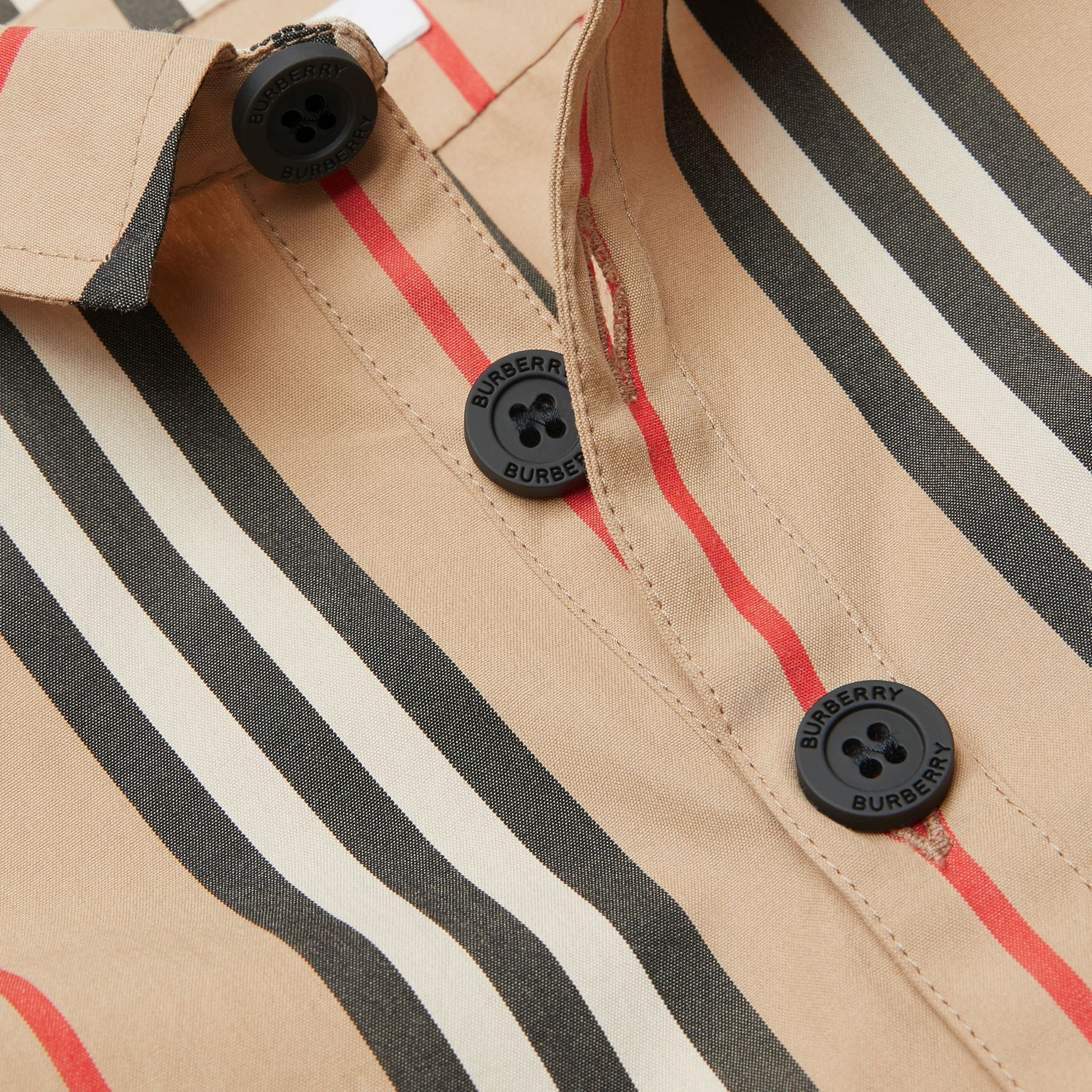 Short-sleeve Icon Stripe Cotton Shirt in Archive Beige - Children | Burberry - gallery image 1