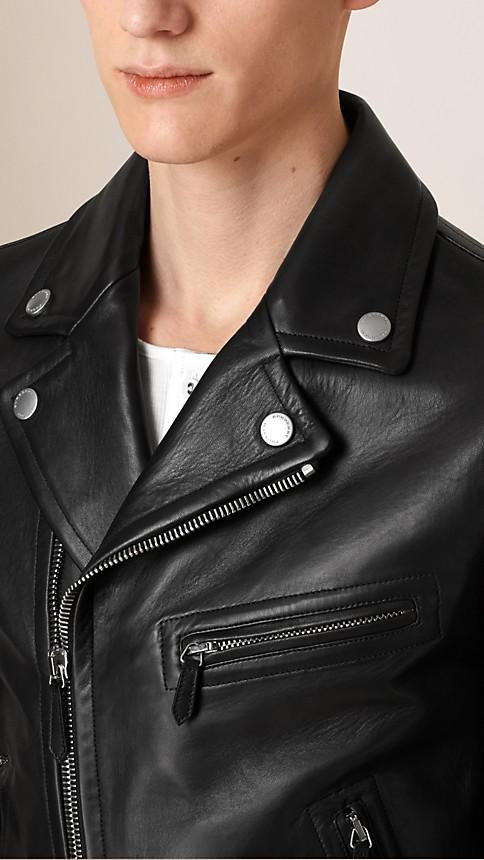 Black Leather Biker Jacket - Image 4