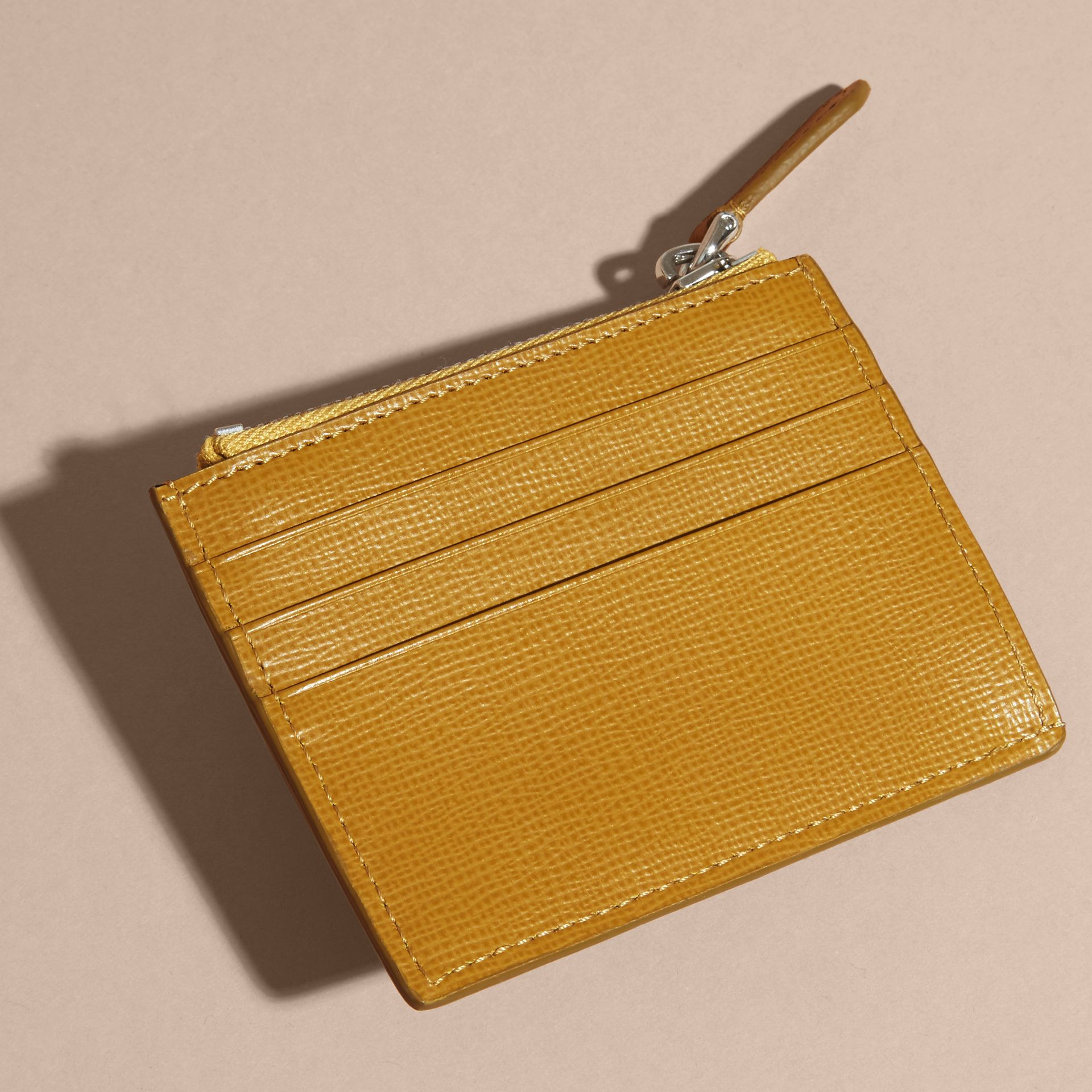 London Leather Zip-top Card Case Larch Yellow - gallery image 4