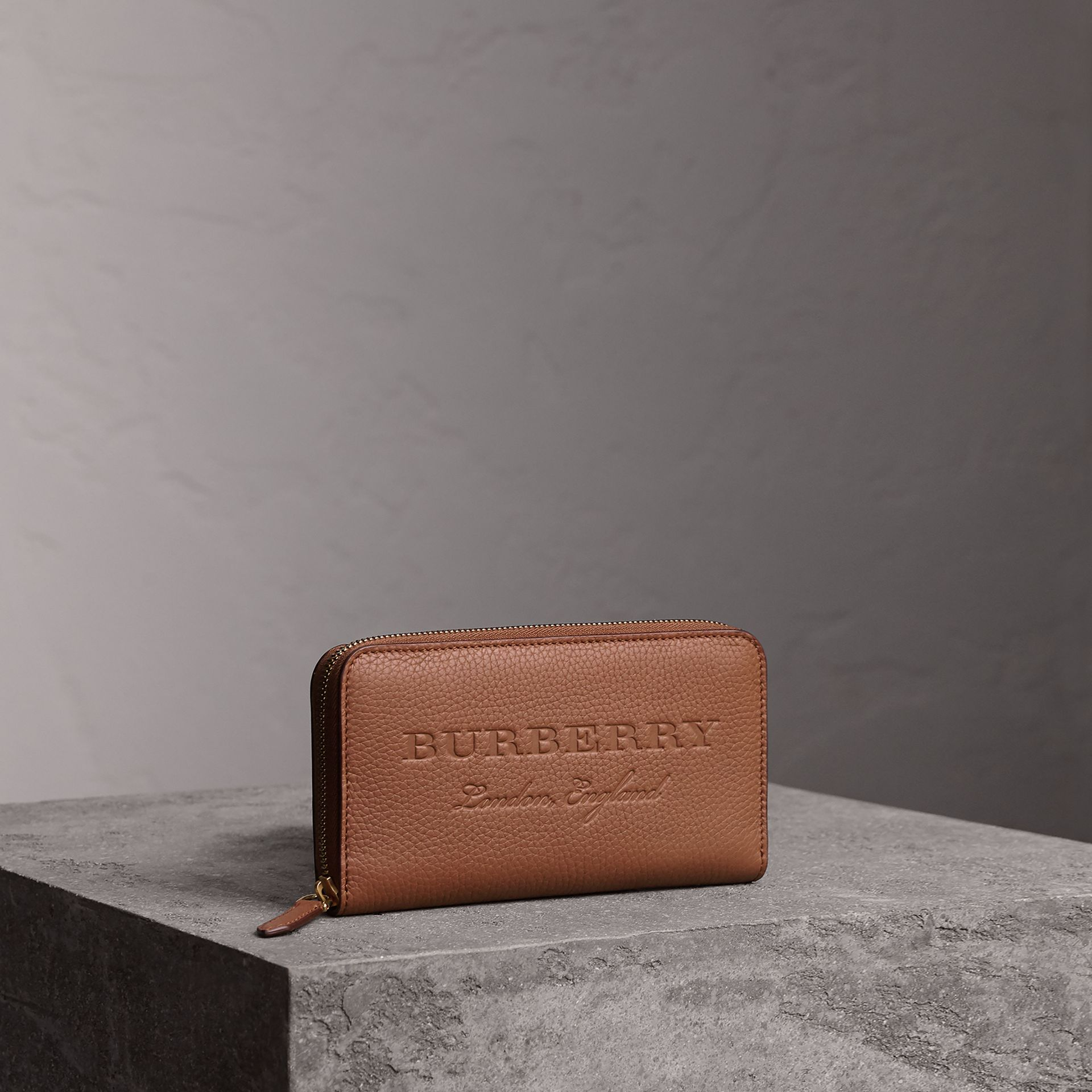 Embossed Leather Ziparound Wallet in Chestnut Brown - Women | Burberry - gallery image 0