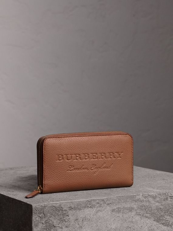 Embossed Leather Ziparound Wallet in Chestnut Brown