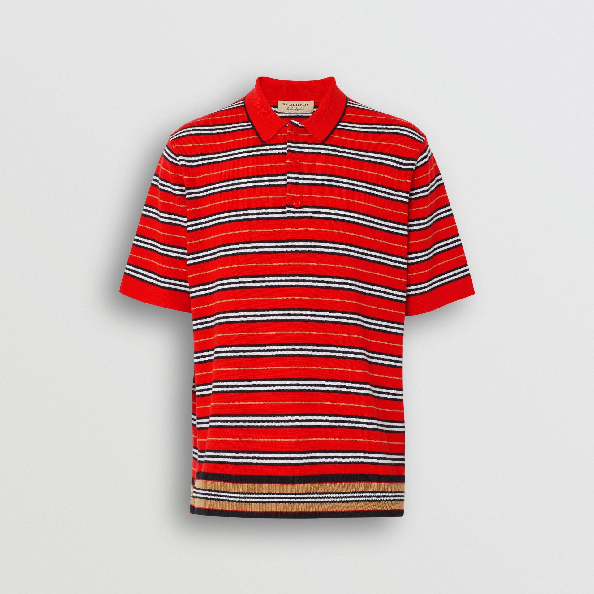 Contrast Stripe Merino Wool Polo Shirt in Bright Red - Men | Burberry - gallery image 2