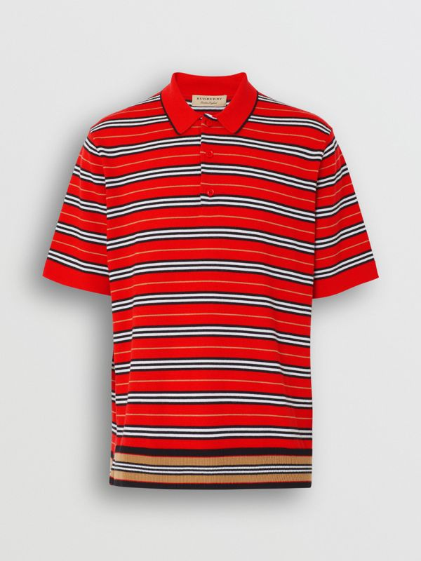 Contrast Stripe Merino Wool Polo Shirt in Bright Red - Men | Burberry - cell image 2