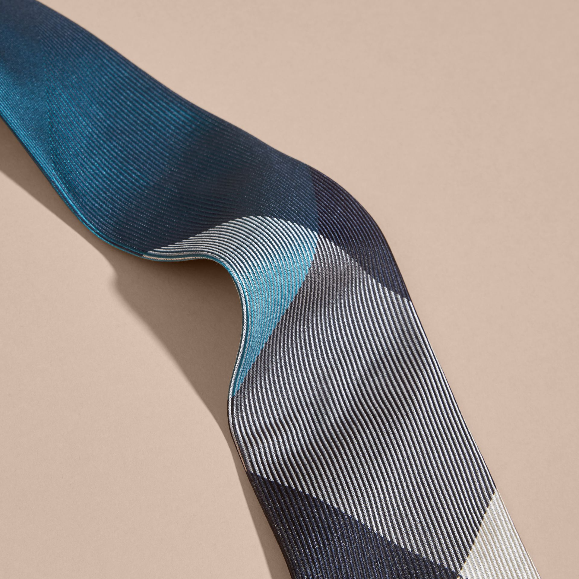 Mineral blue Modern Cut Check Jacquard Silk Tie Mineral Blue - gallery image 2