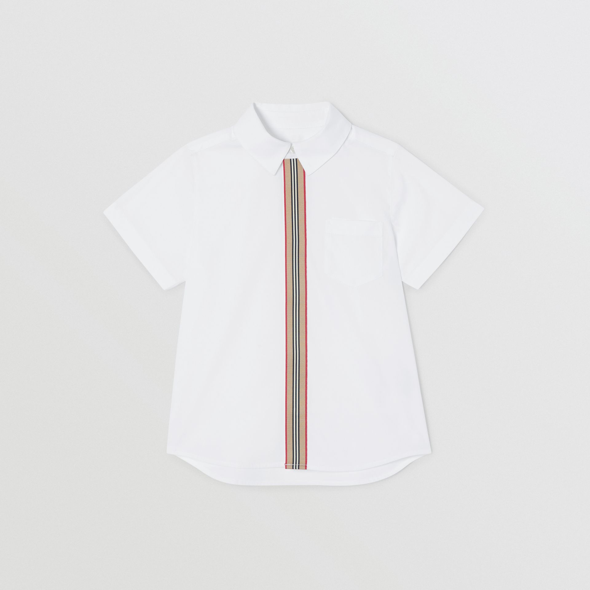 Short-sleeve Icon Stripe Trim Stretch Cotton Shirt in White | Burberry United Kingdom - gallery image 0