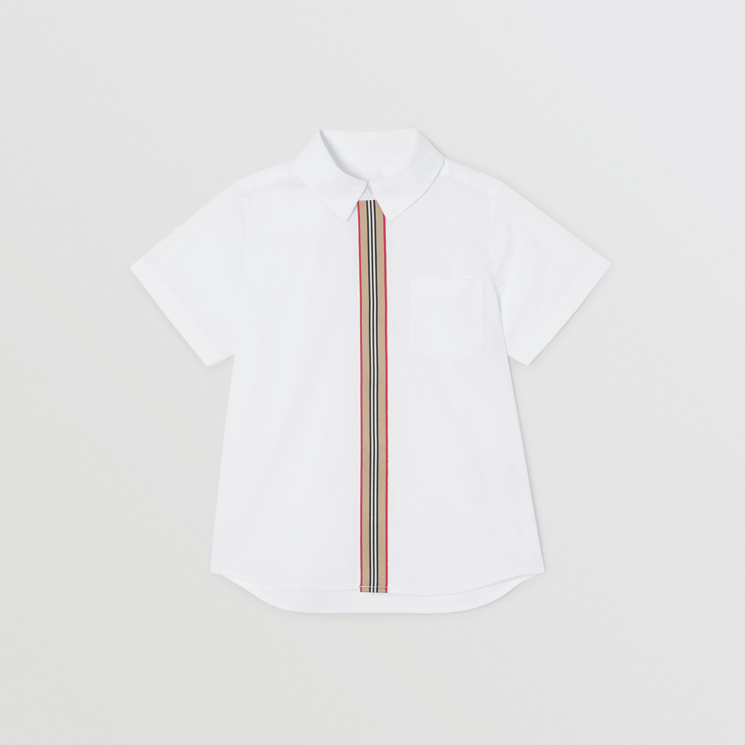 Short-sleeve Icon Stripe Trim Stretch Cotton Shirt in White | Burberry Canada - 1