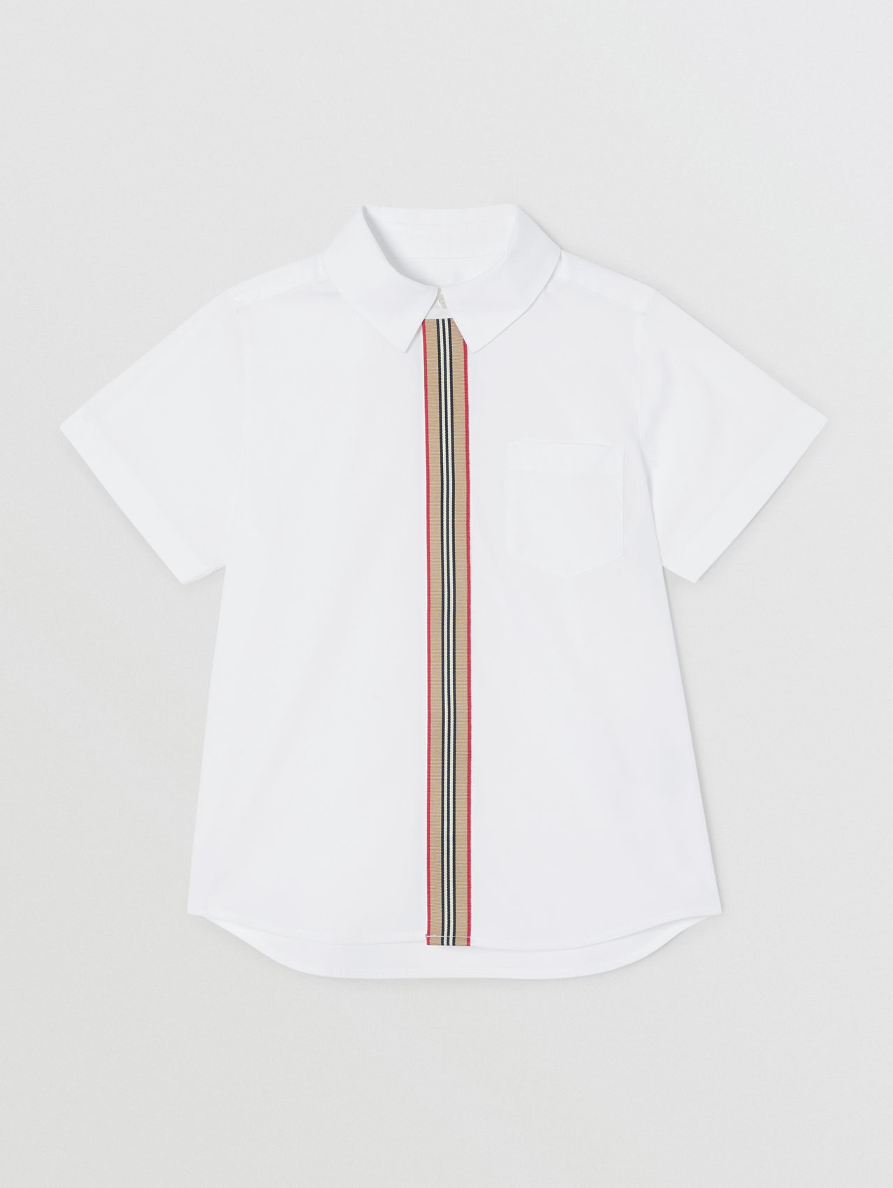 Short-sleeve Icon Stripe Trim Stretch Cotton Shirt (White)