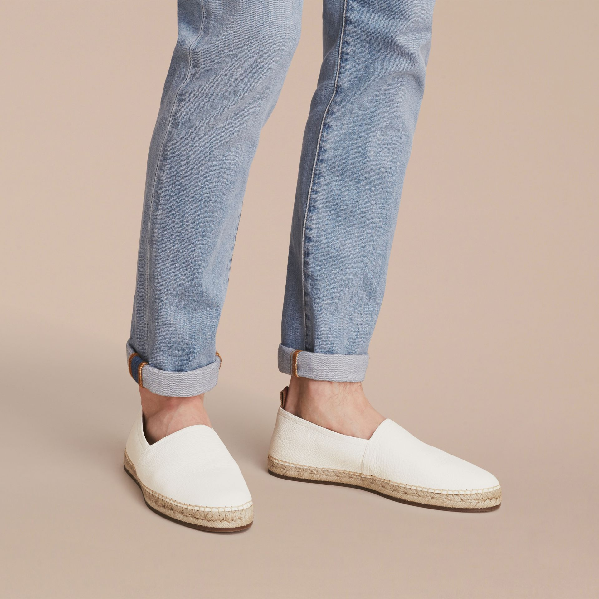 Check Detail Leather Espadrilles in Optic White - gallery image 3