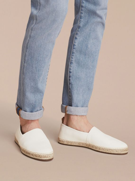 Check Detail Leather Espadrilles Optic White