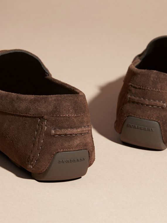 Suede Loafers with Engraved Check Detail Peat Brown - cell image 3