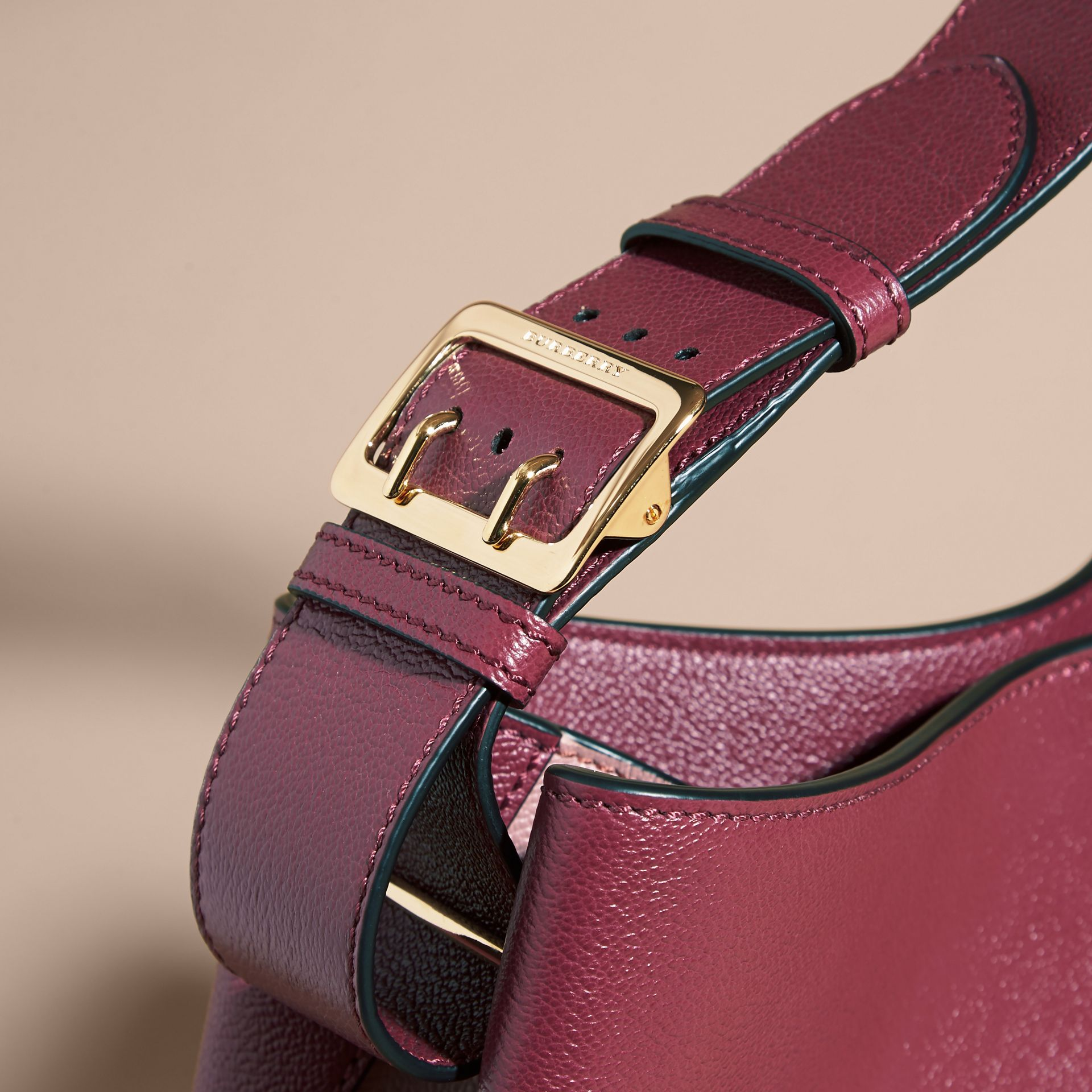 Textured Leather Shoulder Bag in Dark Plum/ Dusty Pink - gallery image 2