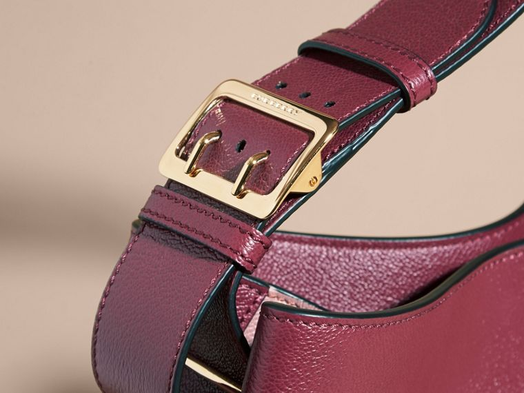 Textured Leather Shoulder Bag in Dark Plum/ Dusty Pink - cell image 1