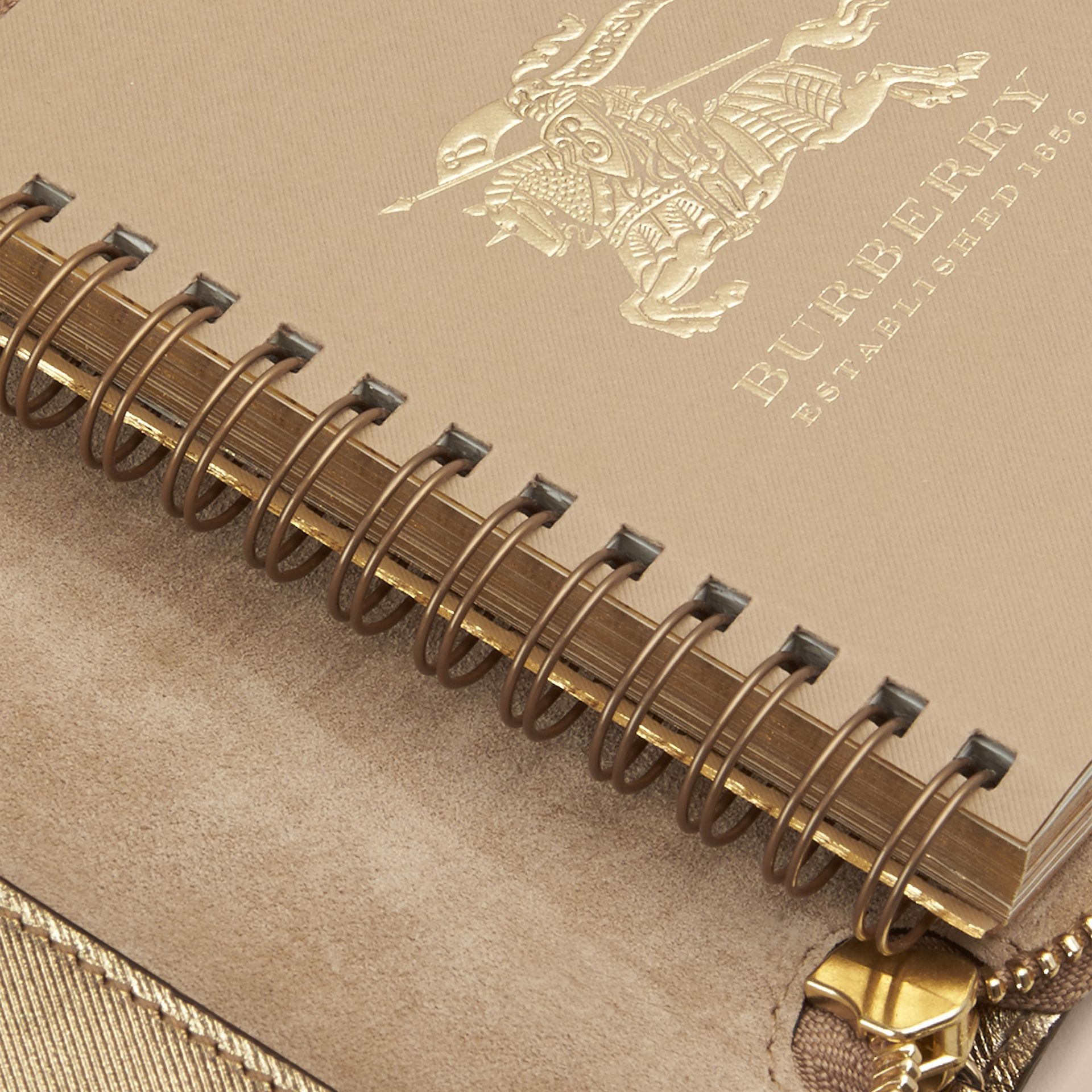 Gold Ziparound Check-embossed Metallic Leather Mini Notebook - gallery image 5