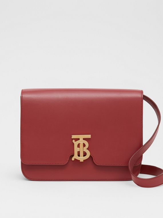 Medium Leather TB Bag in Crimson