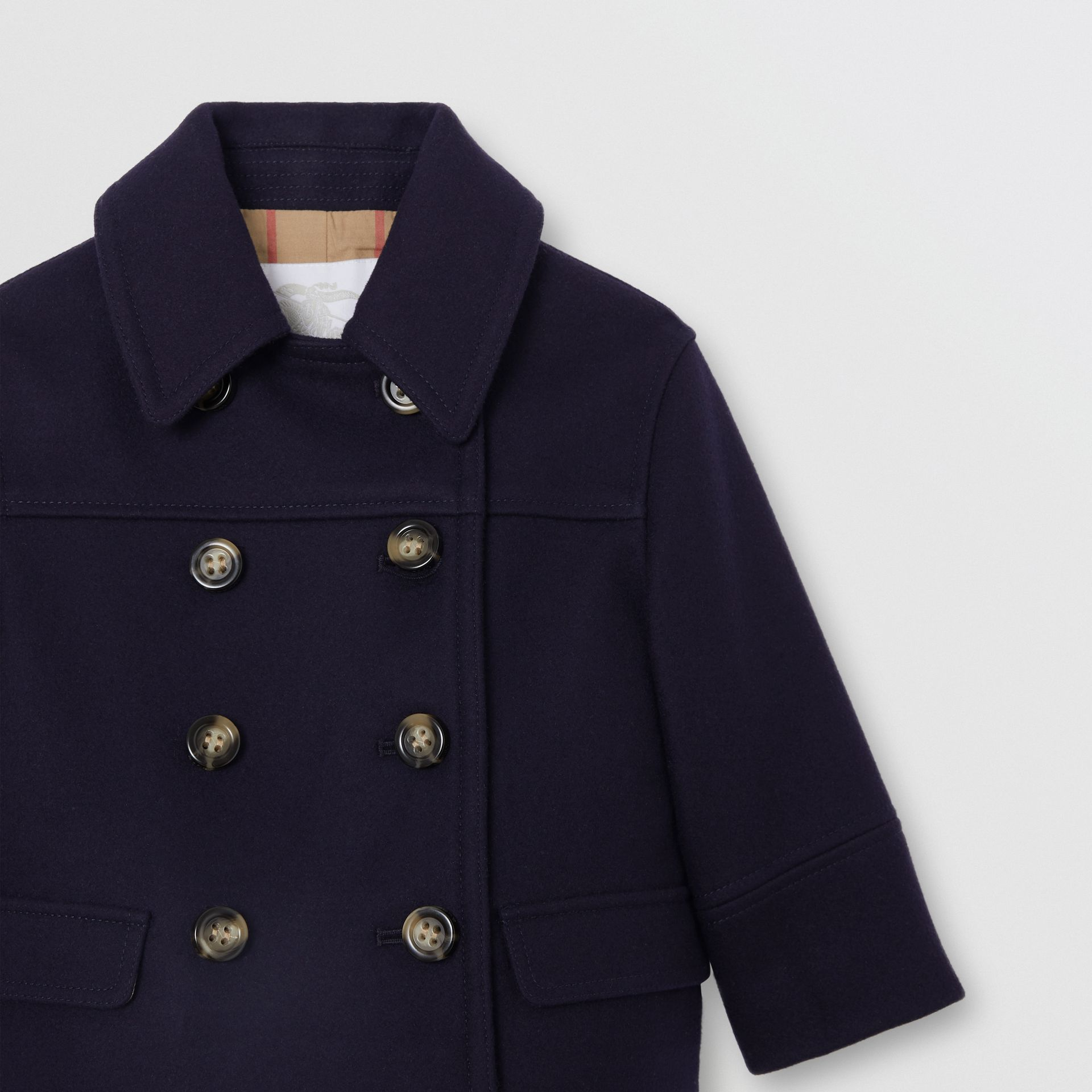 Melton Wool Tailored Pea Coat in Navy - Children | Burberry - gallery image 4