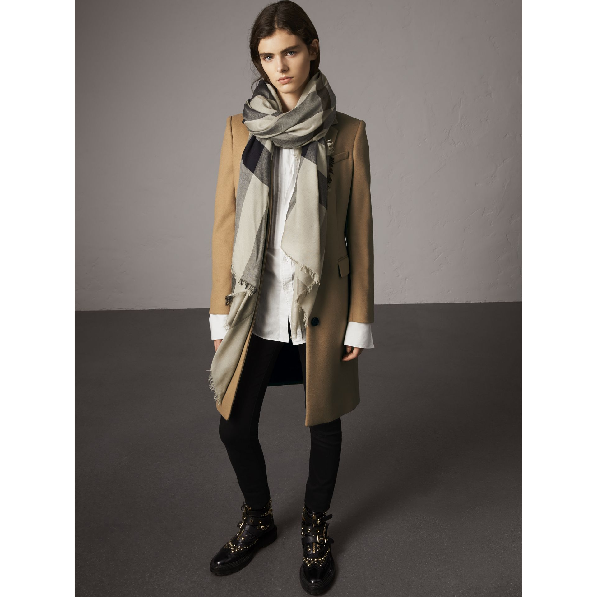 Check Modal Wool Scarf in Sandstone - Women | Burberry - gallery image 3