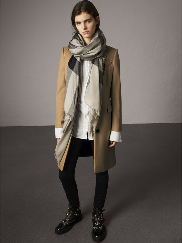 Check Modal Wool Scarf in Sandstone - Women | Burberry Australia - cell image 2
