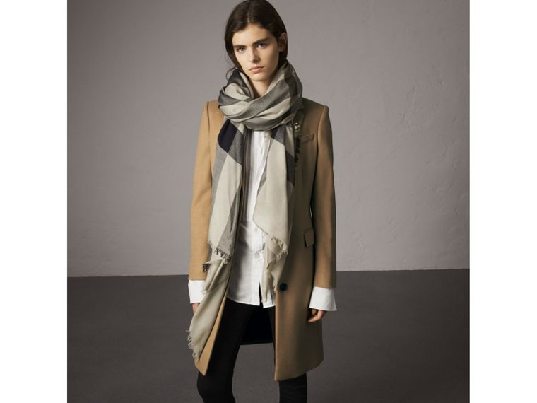 Check Modal Wool Scarf in Sandstone - Women | Burberry United States - cell image 2