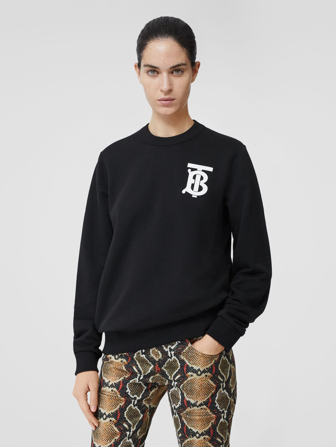 Monogram Motif Cotton Sweatshirt (Black)