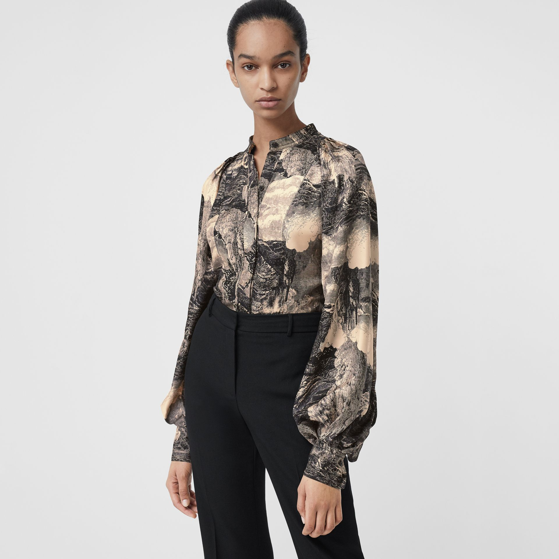 Puff-sleeve Dreamscape Print Silk Blouse in Pale Apricot - Women | Burberry Australia - gallery image 0
