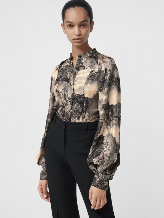 Puff-sleeve Dreamscape Print Silk Blouse in Pale Apricot