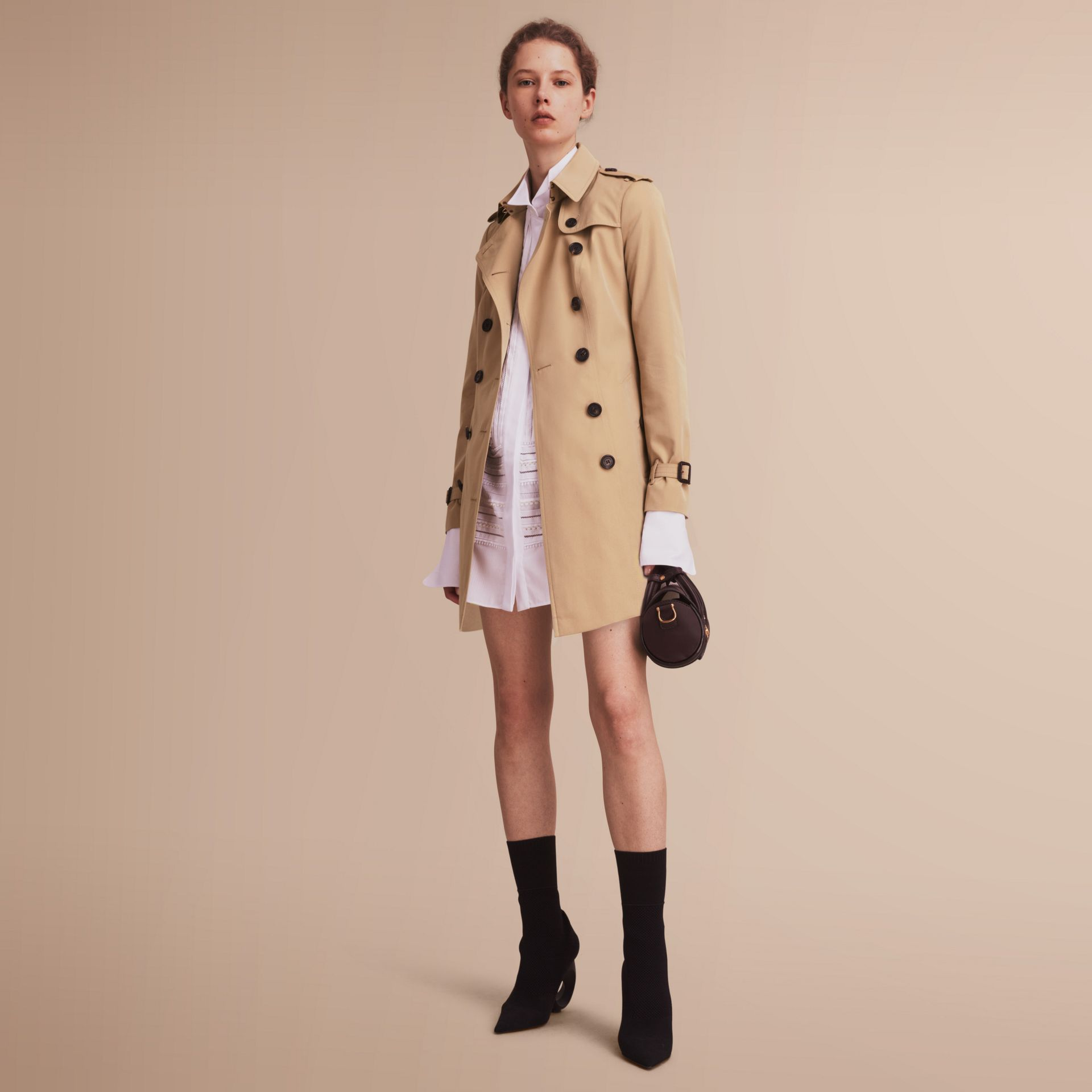 The Sandringham – Mid-Length Heritage Trench Coat Honey - gallery image 1