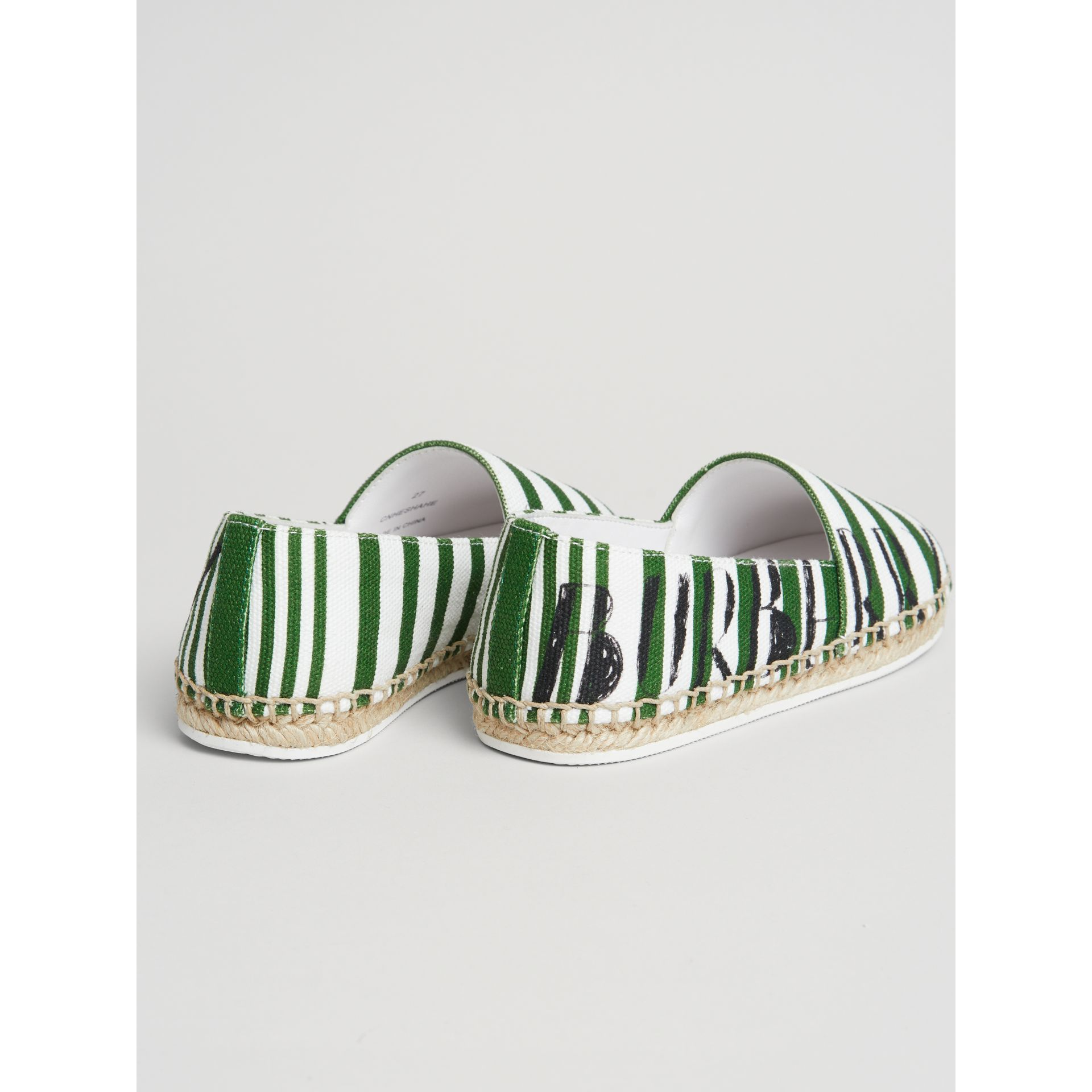 SW1 Print Striped Cotton Espadrilles in Bright Fern Green | Burberry - gallery image 2