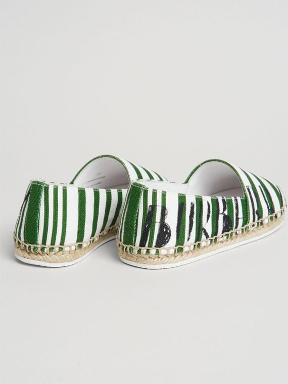 SW1 Print Striped Cotton Espadrilles in Bright Fern Green | Burberry - cell image 2