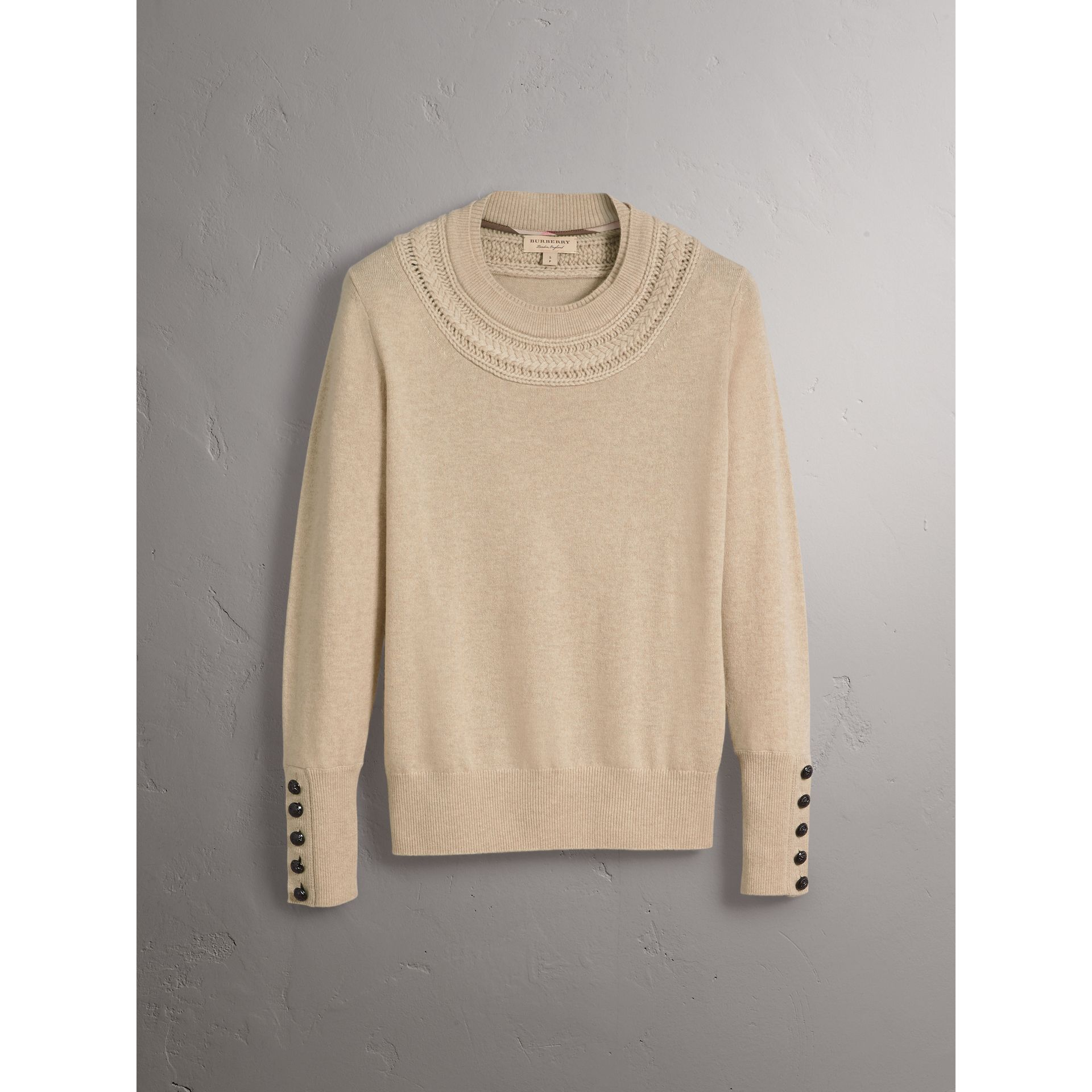 Cable Knit Yoke Cashmere Sweater in Taupe Melange - Women | Burberry - gallery image 3