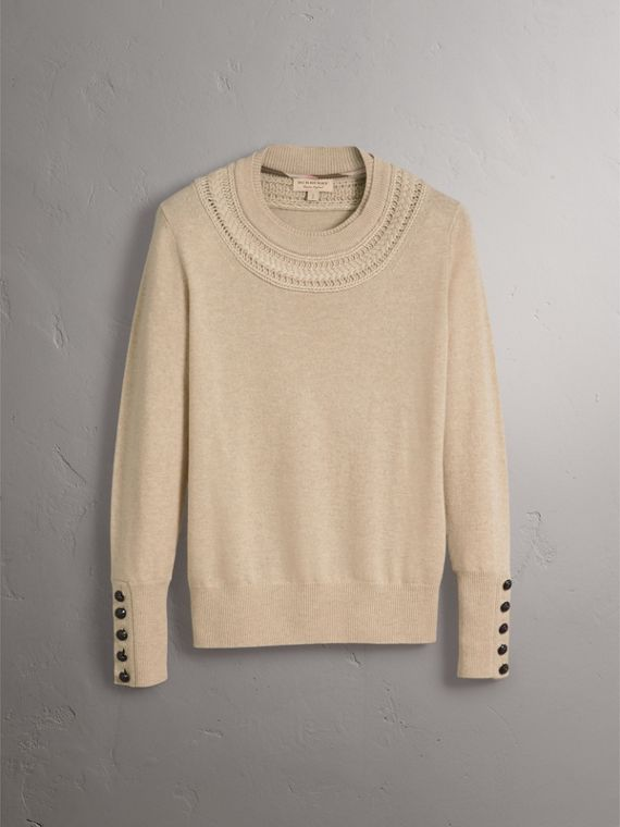 Cable Knit Yoke Cashmere Sweater in Taupe Melange - Women | Burberry - cell image 3